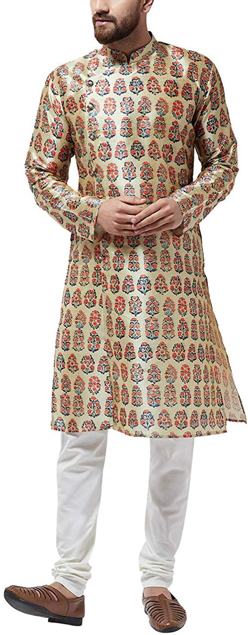 Sojanya (Since 1958) Men's Silk Blend Printed Kurta & Off-White Churidar Pyjama SET