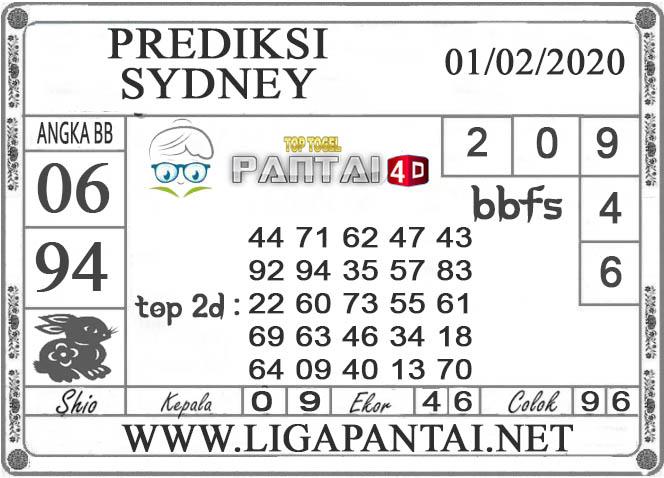PREDIKSI TOGEL SYDNEY PANTAI4D 01 FEBRUARI 2020