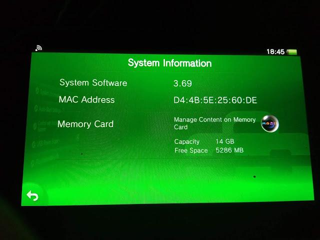 sebuah PS Vita versi 3.69