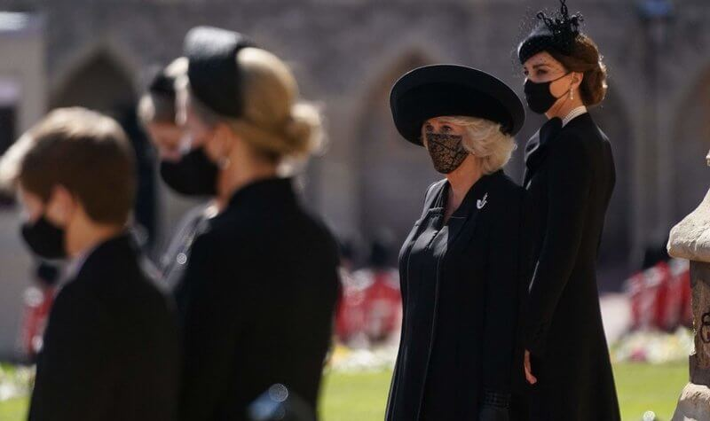 Queen Elizabeth, the Duchess of Cornwall, the Duchess of Cambridge, the Countess of Wessex and Prince Harry