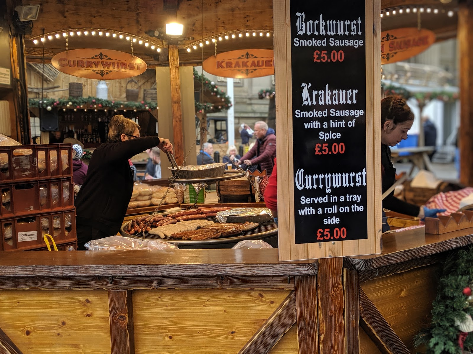 A Guide to Visiting Liverpool Christmas Markets & Lights  - german sausages  alt