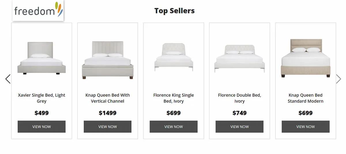 オーストラリアの人気家具店『フリーダム』のベッドが並んだ写真