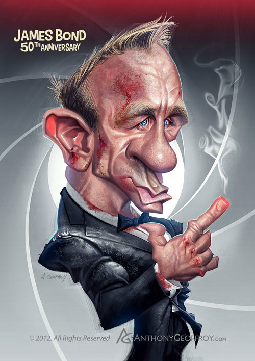 "Caricatura de ""Daniel Craig"" por Anthony Geoffroy"