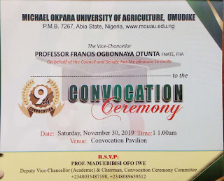 MOUAU 9th Convocation Ceremony Programme of Events 2019