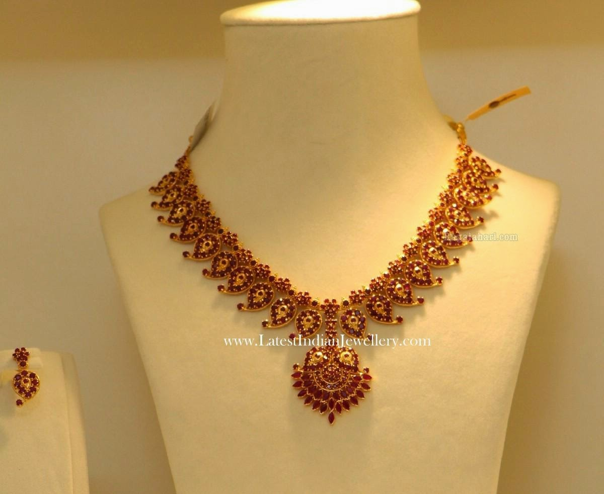 Traditional Ruby Mango Mala Necklace