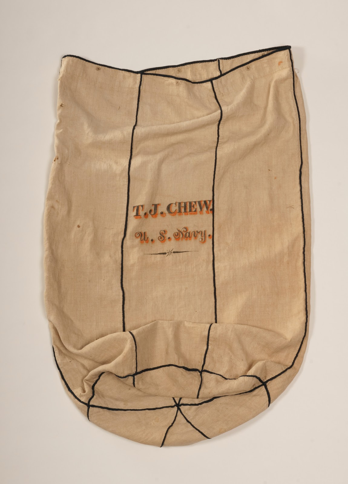 dfe71220e50 Purser Thomas Chew s bag, 1812 to 1832. USS Constitution Museum collection,  photo by David Bohl.