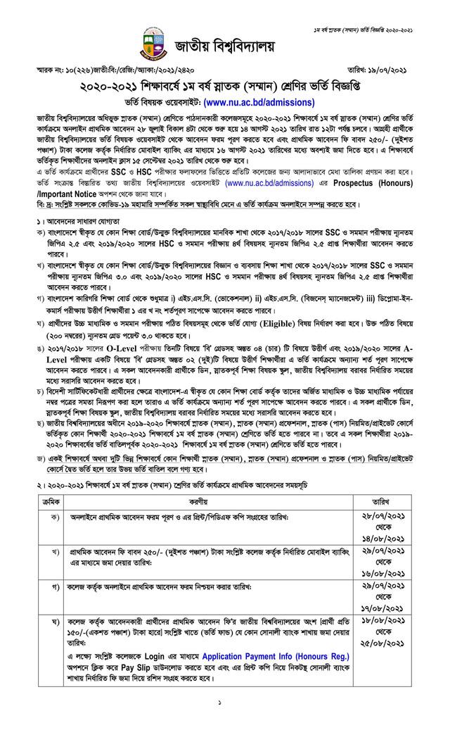 National University Admission 2020-21