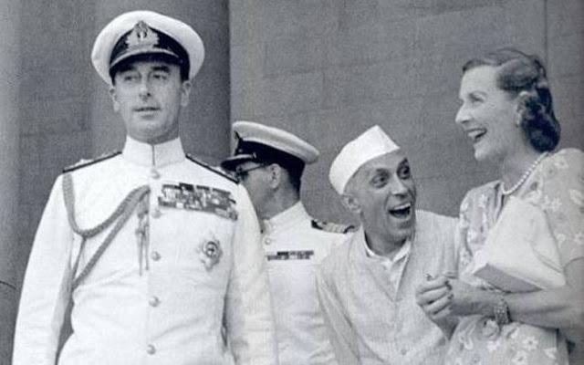 राइट तो लेफ्ट लास्ट गवर्नर माउंटबेटेन उनकी पत्नी एडविना एडविना को देखकर लार टपकाते नेहरू