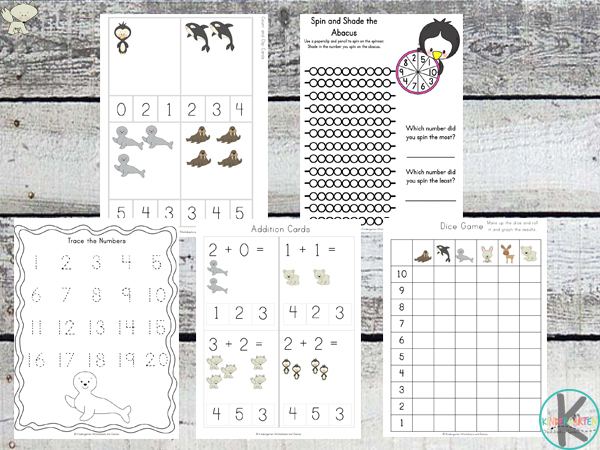 counting arctic animals kindergarten worksheets