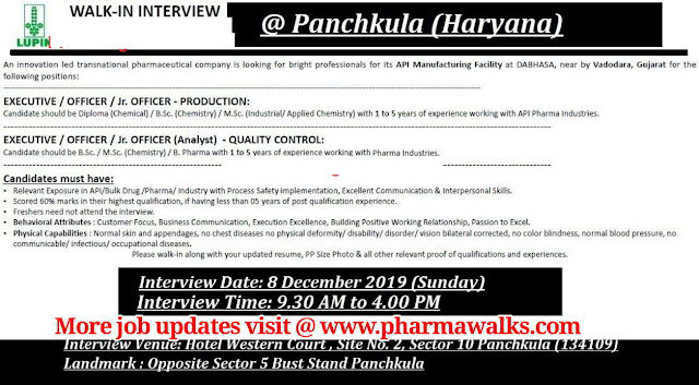 Lupin Ltd walk-in interview for Production / Quality Control on 8th Dec' 2019