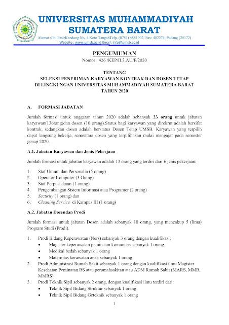 Penerimaan Karyawan Kontrak dan Dosen UMSB