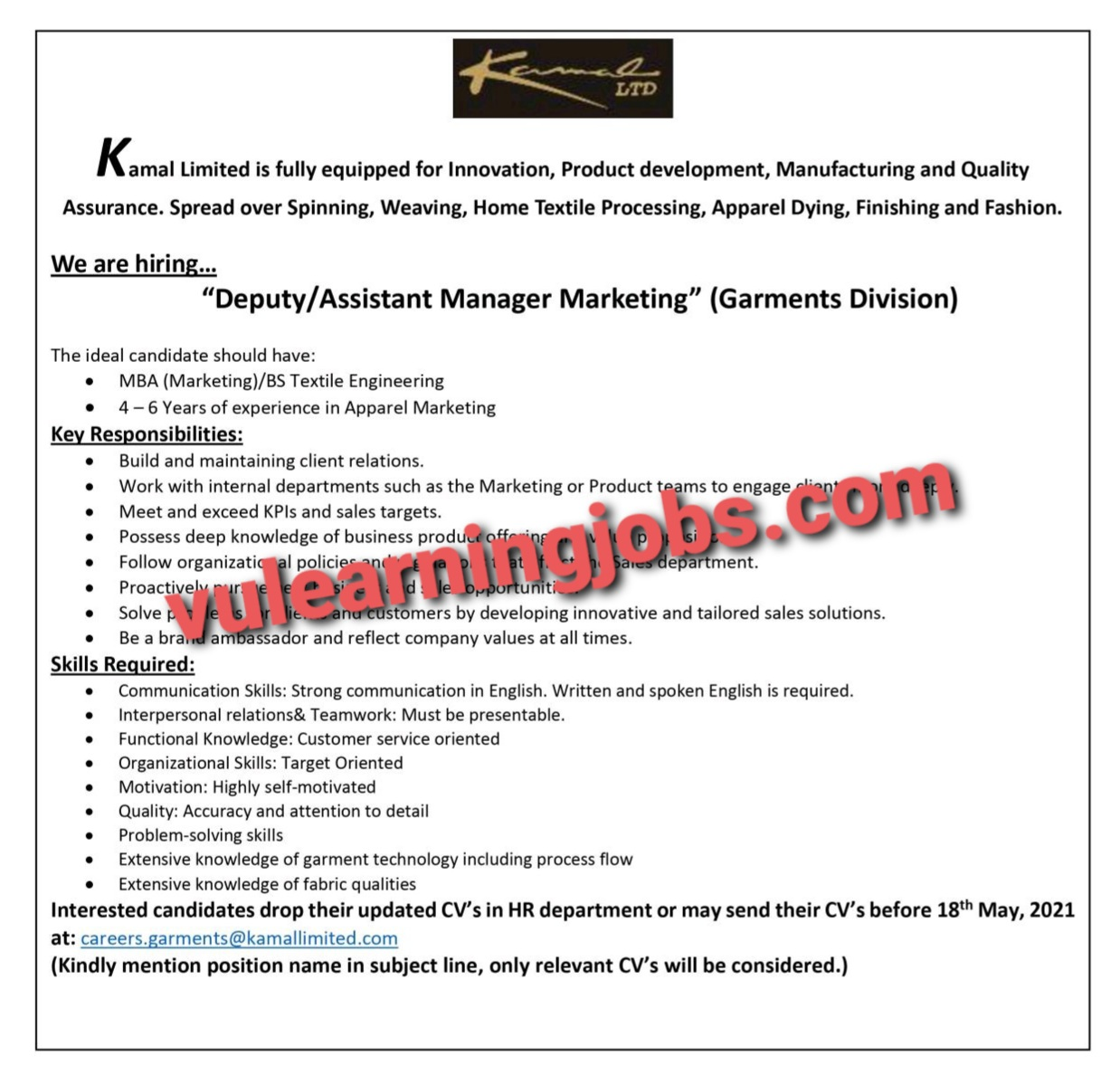 Kamal Limited Jobs In Pakistan May 2021 Latest | Apply Now