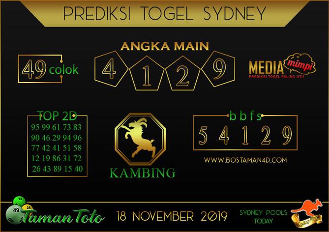 Prediksi Togel SYDNEY TAMAN TOTO 18 NOVEMBER 2019