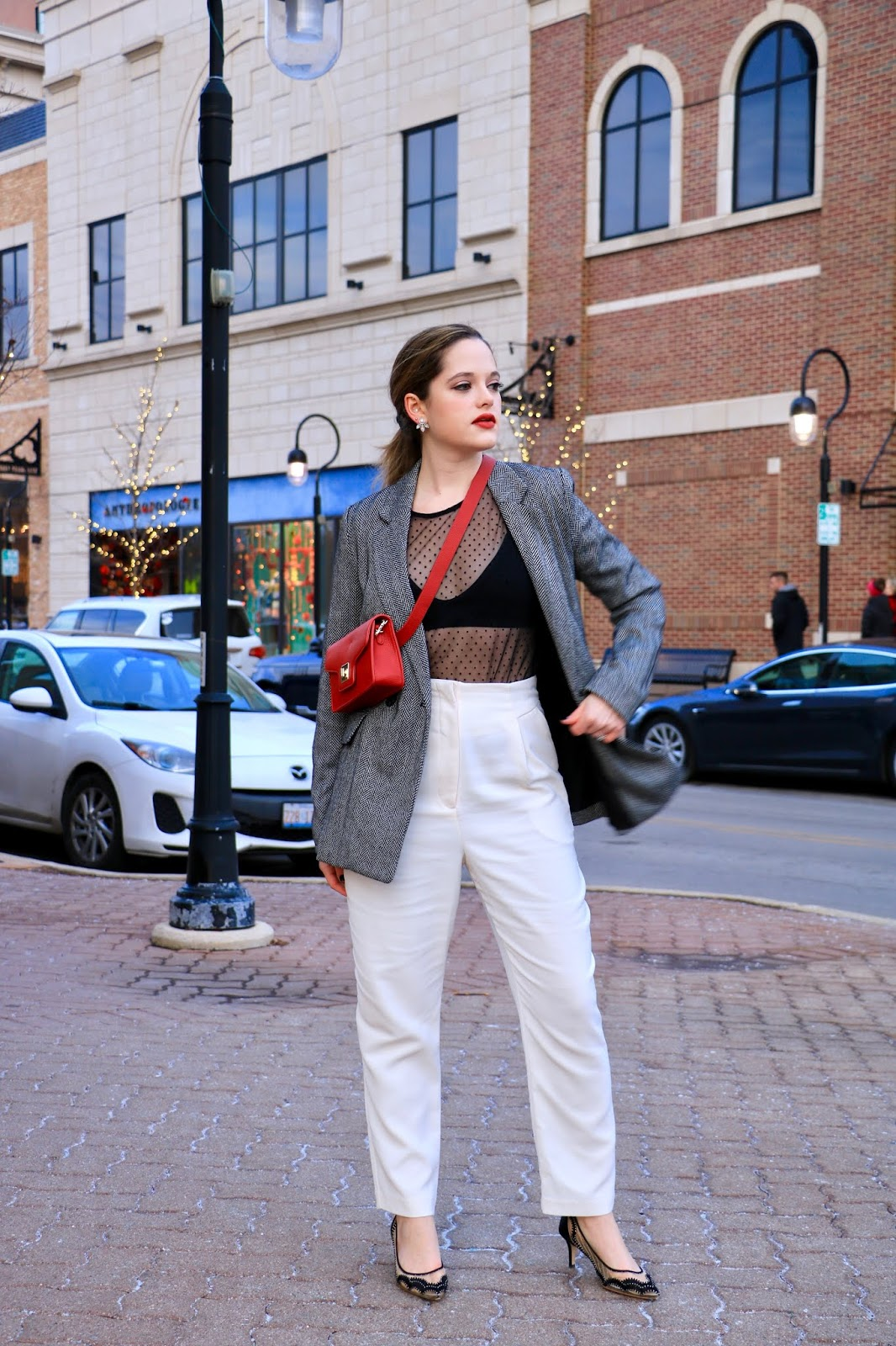 Nyc fashion blogger Kathleen Harper wearing a sheer top outfit.