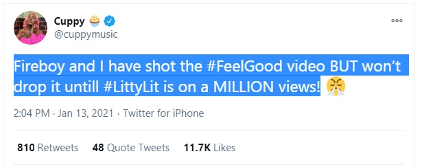 DJ Cuppy Shoots Feel Good Video With Fireboy DML, Reveals Why She Won't Drop It Yet