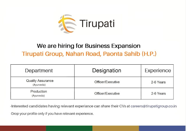 Tirupati Group Urgent Openings for Quality Assurance Production Departments Apply Now
