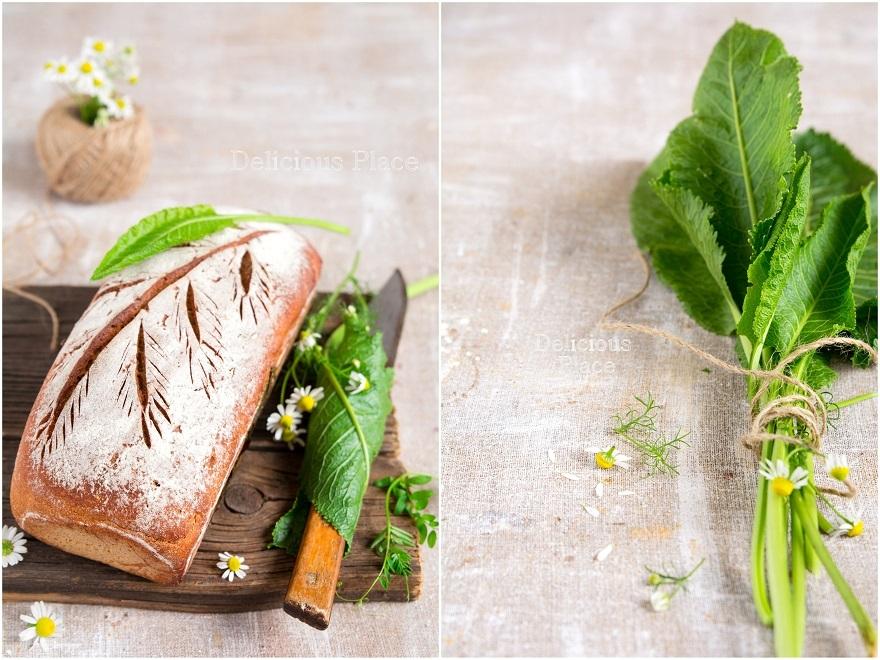 Chleb żytni na zakwasie z liściem chrzanu