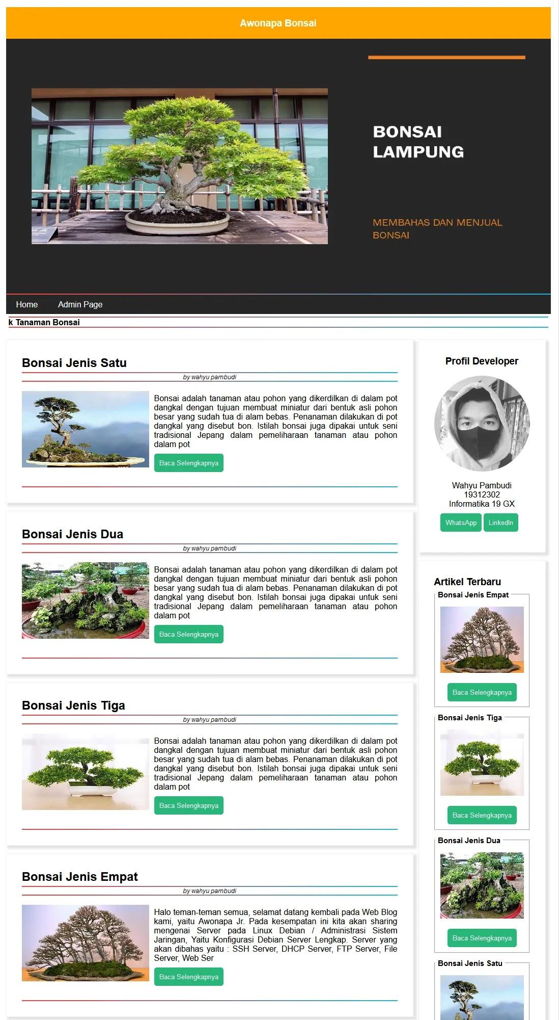 Hasil Website Blog HTML CSS PHP MYSQL