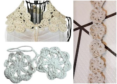 Cuello tejido composición 40 motivos florales