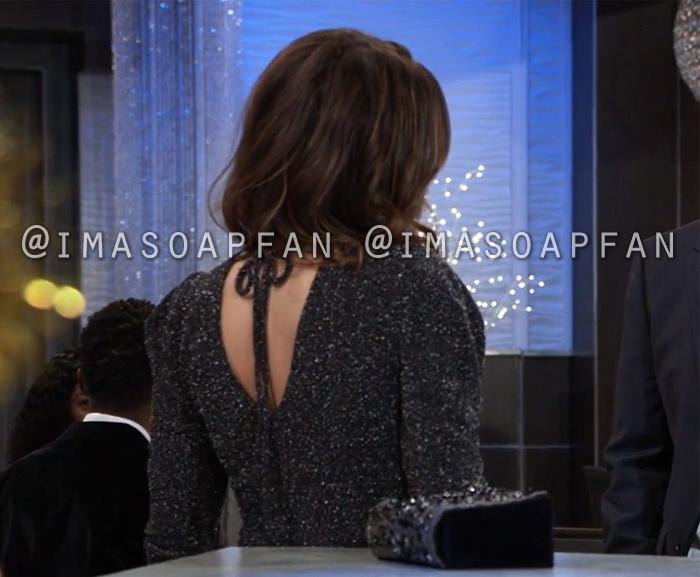 Margaux Dawson, Elizabeth Hendrickson, Sparkly Black Bodycon Sweater Dress, General Hospital, GH