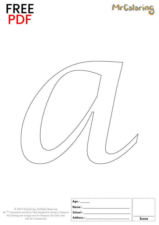 Alphabet letter a coloring pages lowercase caligraphy for kids