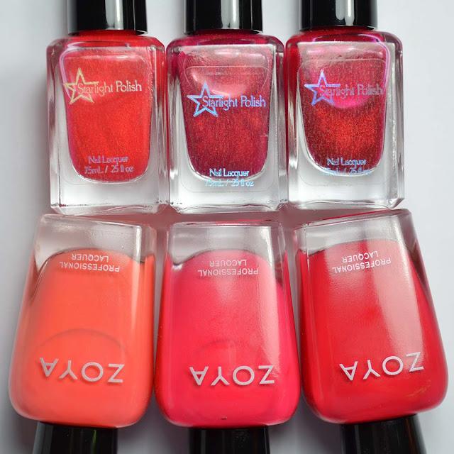 nail polish color comparisons