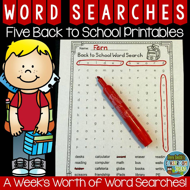 Fern Smith's Classroom Ideas Five Back to School Word Searches for a Whole Week of Fun at TeacherspayTeachers.