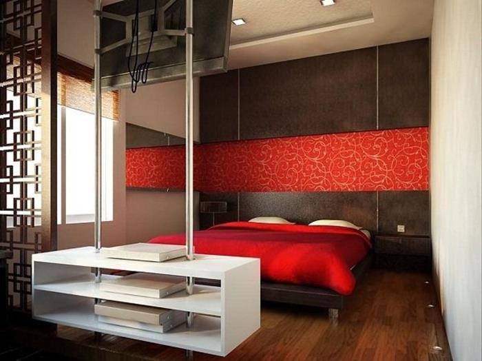 Japon Tarzı kırmızı Yatak Odası Dekorasyonu