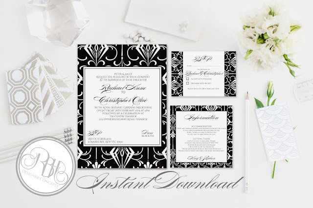 black white art deco invitation rsvp information design