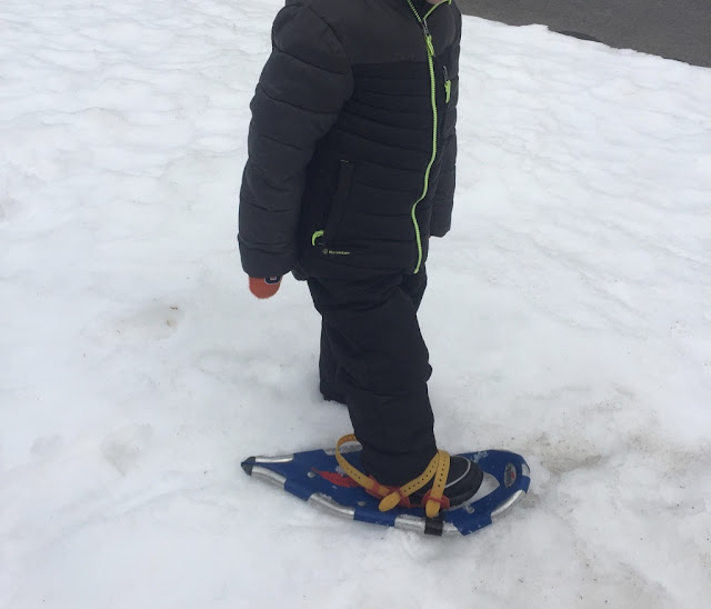 kindergartener on snowshoes to learn how rabbits move