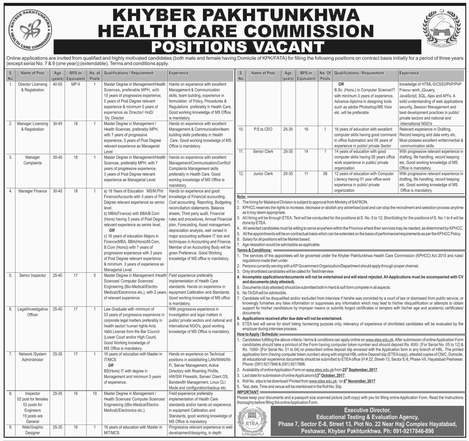 Jobs In Health Department Govt Of KPK 25 Sep 2017