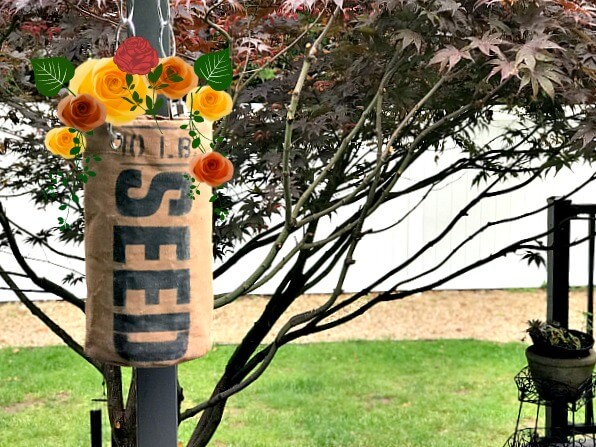 DIY Canvas Stenciled Flower SEED planter with chain for hanging.
