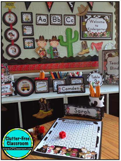 Western Classroom Decor ~ Cowboy western theme clutter free classroom