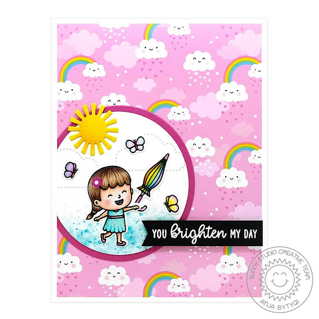 Sunny Studio Stamps: Spring Showers Fluffy Clouds Comic Strip Everyday Dies Spring Themed Card by Anja Bytyqi