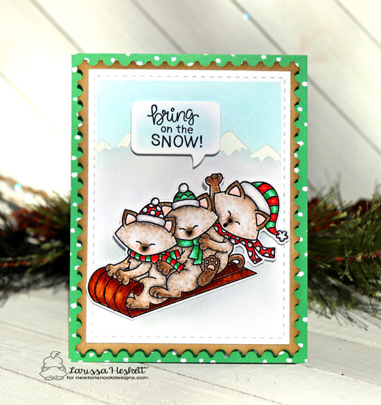 Sledding Kitties card by Larissa Heskett | Newton's Toboggan Stamp Set, Mountains Stencil, Framework Die Set and Speech Bubbles Die Set by Newton's Nook Designs #newtonsnook #handmade
