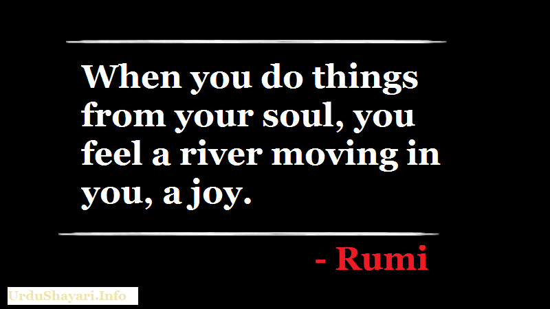 Rumi Quotes on Soul, River, Joy -When you do things from your soul, you feel a river moving in you, a joy