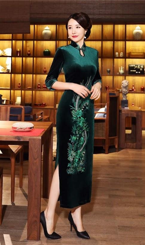 Women's Green Cheongsam Qipao Dresses