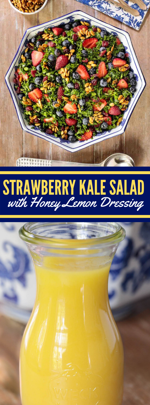 Strawberry Kale Salad with Honey Lemon Dressing #vegetarian #summerrecipes