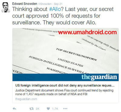 Edward Snowden Google Allo Security Issue