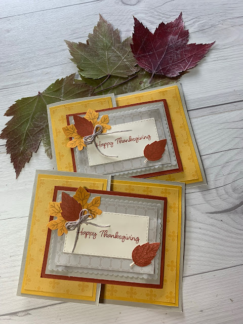 Two Thanksgiving Cards with leaves using stamps from the 2021 September Haunts & Harvest Paper Pumpkin Kit