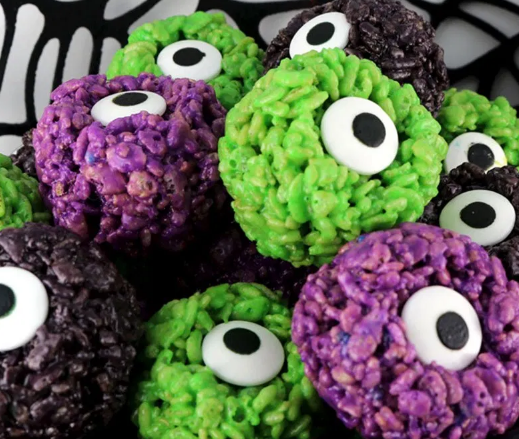 MONSTER EYE BALLS RICE KRISPIE BITES #desserts #cakes #balls #monster #pumpkin