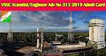 VSSC Scientist/Engineer  Adv No 313 2019 Admit Card