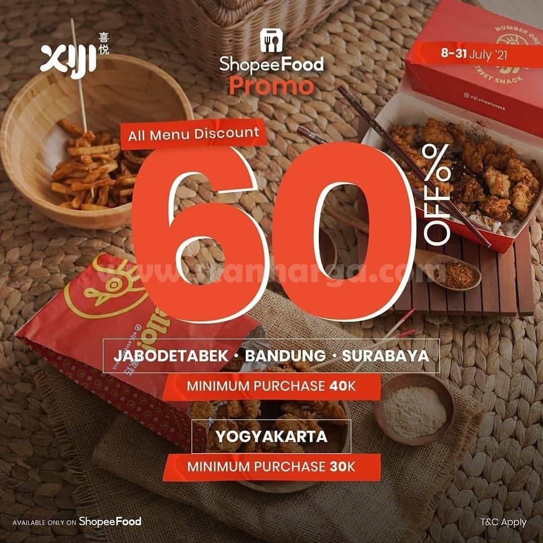 Promo XIJI Street Snack Diskon hingga 60% via ShopeeFood