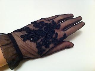 siyah tül eldiven satın al güpür dantel işleme