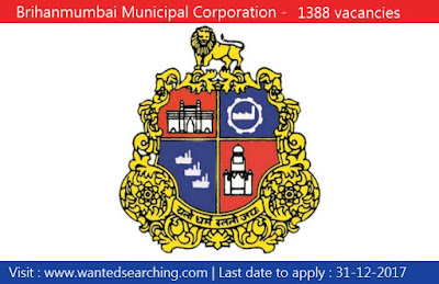 BMC Recruitment 2017 , 1388 vacancies for Labour, Room Attendant, Worker, Hamal, Multipurpose Hand, Aayah posts