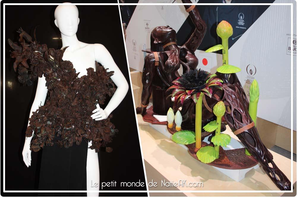 Robe chocolat et sculpture de Akihiro Kakimoto Salon du chocolat