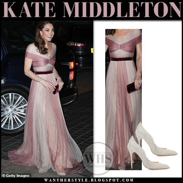 Kate Middleton wears pale blush pink pleated gucci gown and sparkly silver oscar de la renta cabrina pumps royal event gala stunning outfit february 13