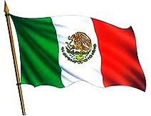 Ilustración de la bandera de México flameando a color