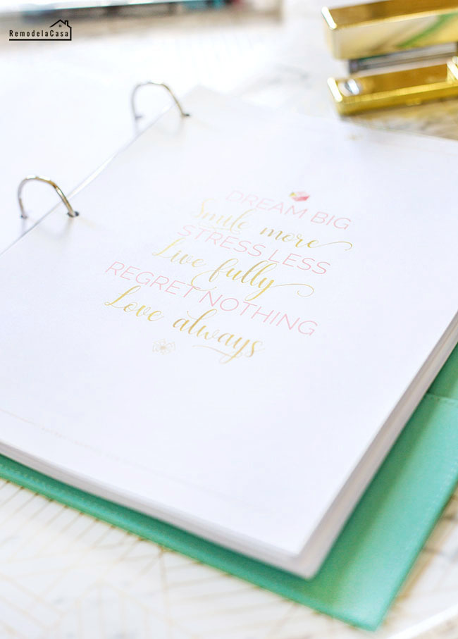 Gold and rose blogging planner - The Crafting Nook
