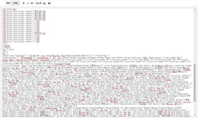 BloggerにGoogleスプレッドシートを貼り付けたときのHTML